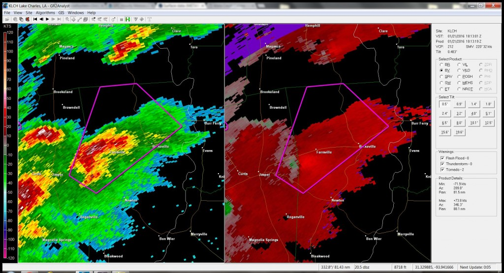 GR LEVEL2 Radar shows the tornado warning near Farrsville, TX.