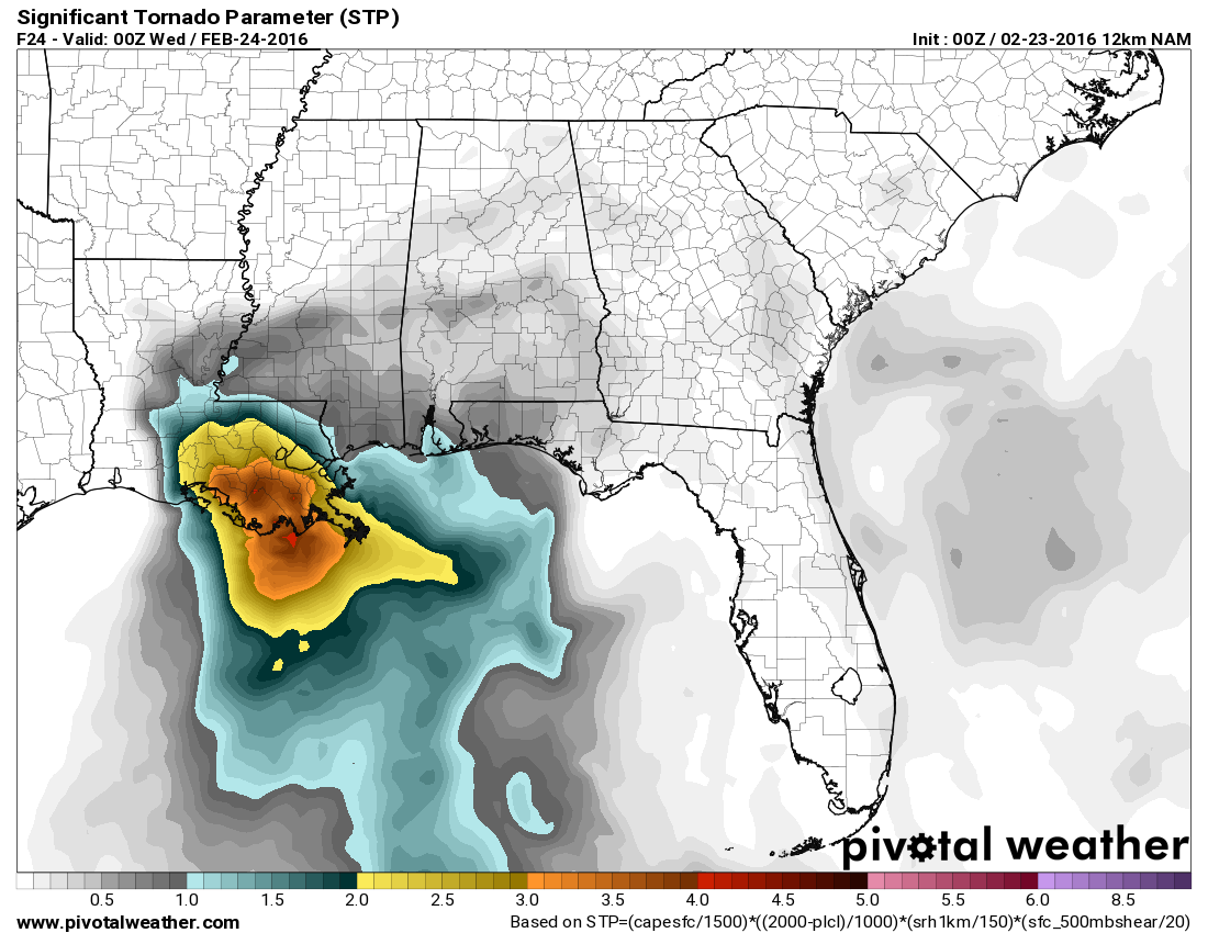 Significant Tornado Parameter valid for 7pm tomorrow